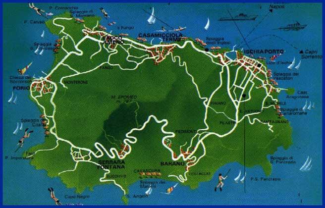 Landkarte Map Cartina Geografica Ischia Italy Italie